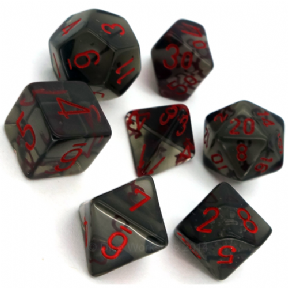 Smoke & Red Translucent Polyhedral 7 Dice Set